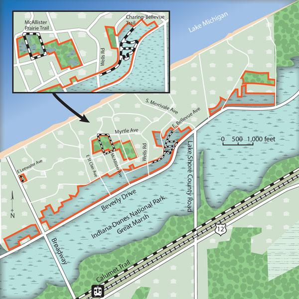 Map of BeverlyShores Great Marsh