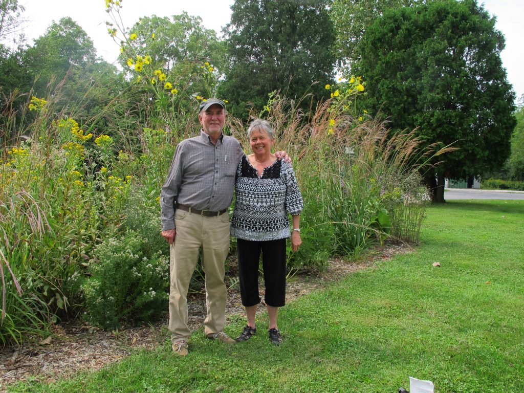 Peg and Don Mohar by the native plant garden at Meadowbrook in 2014
