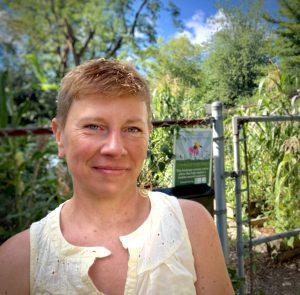 photo of Christine Maloney in her garden
