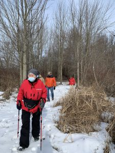 Hikers on winter trail