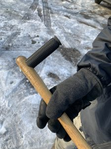 Handmade hiking pole and warm gloves