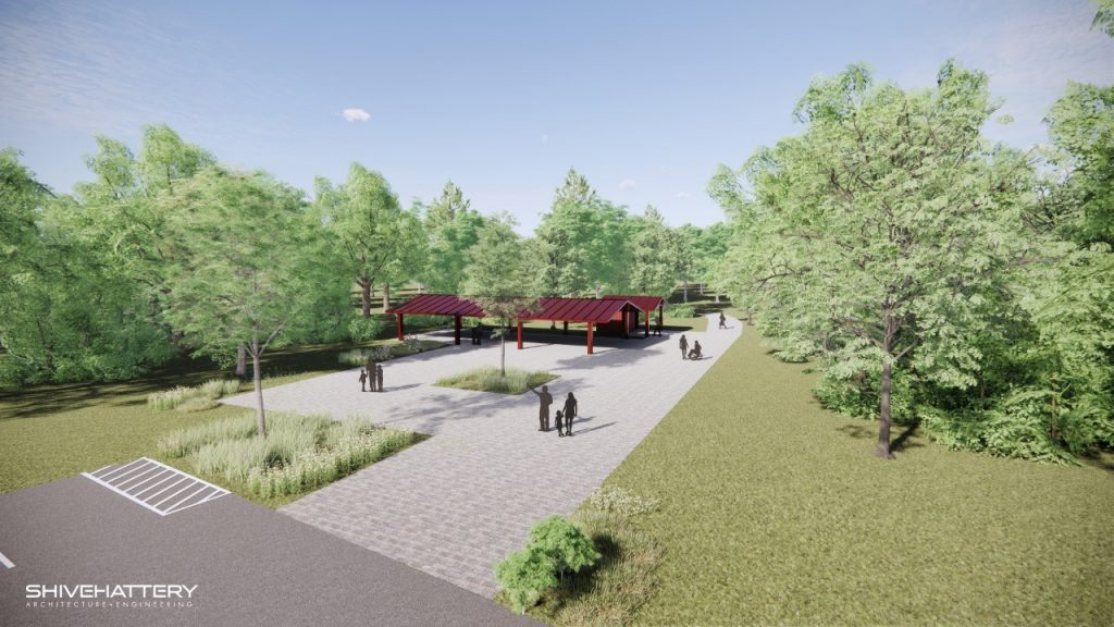 Photo rendering of trailhead plaza, red open air shelter, and tall mature trees in a natural setting.
